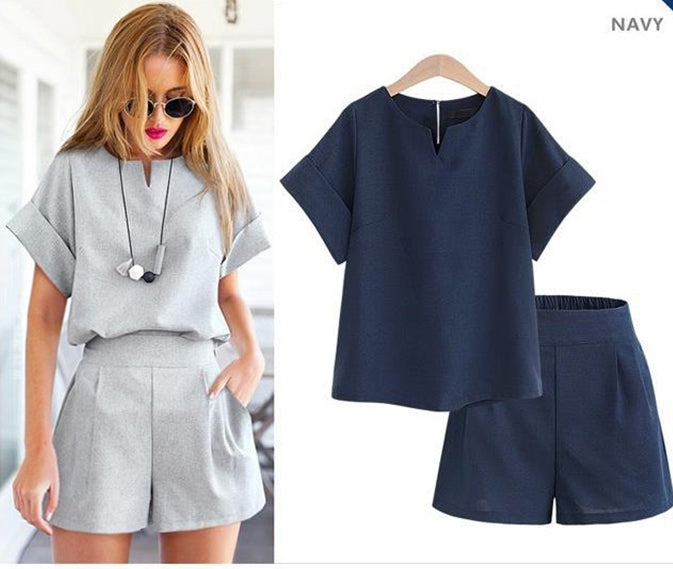 Women Summer Casual Cotton Linen V-neck short sleeve tops + shorts two piece set Female Office Suit Set Women's Costumes
