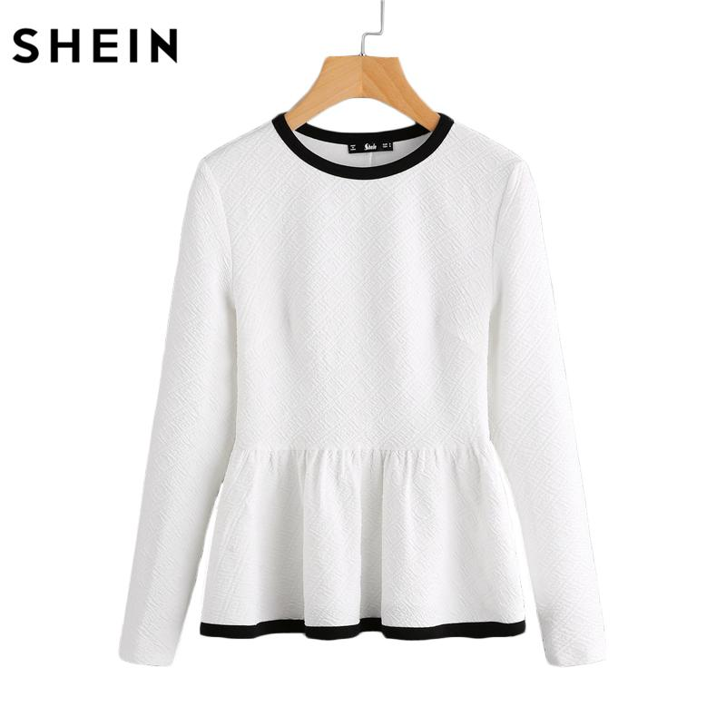Contrast Binding Textured Shirt White Women Tops Blouses Autumn Long Sleeve Elegant Fall Fashion Blouse-Bottoms-SheSimplyShops