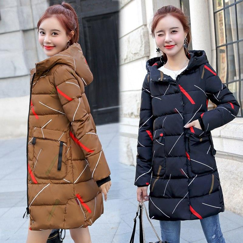 ALMUERK 2018 Pattern Winter Long Jacket Women Hooded Fur Parka Oversize Slim Waist Plus Size Coat Hoody Thick Warm Plus Size