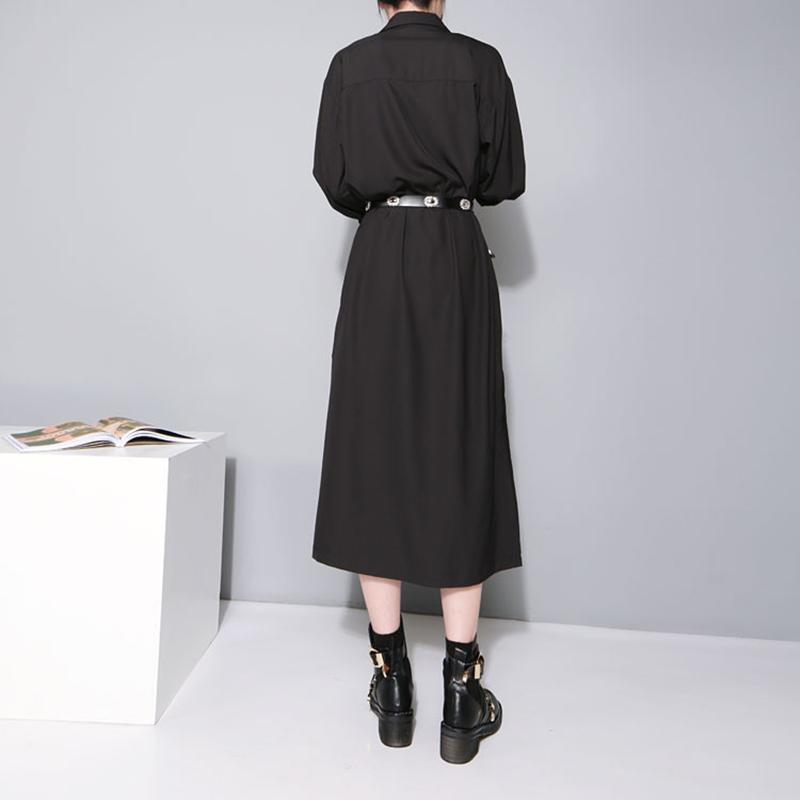 Autumn Casual Dress Female Long Sleeve Black Women Dresses Shirt Side Split Clothes-Dress-SheSimplyShops