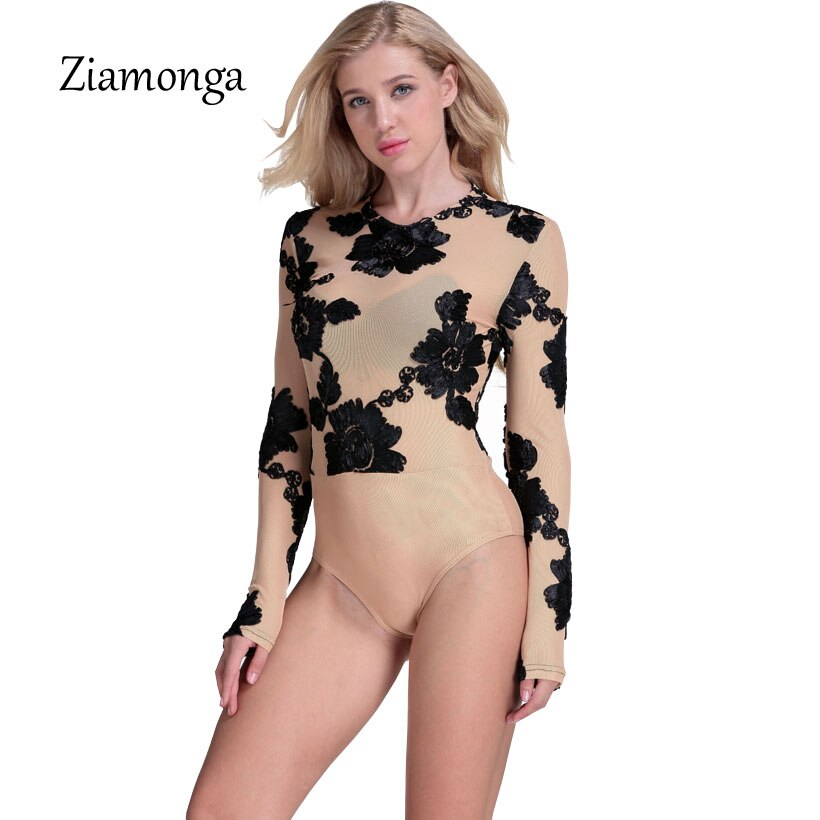 Ziamonga Sexy Summer Party Bodycon Jumpsuit Lace Embroidery Bodysuit Women 3D Flower Combinaison Femme Long Sleeve Mesh Bodysuit