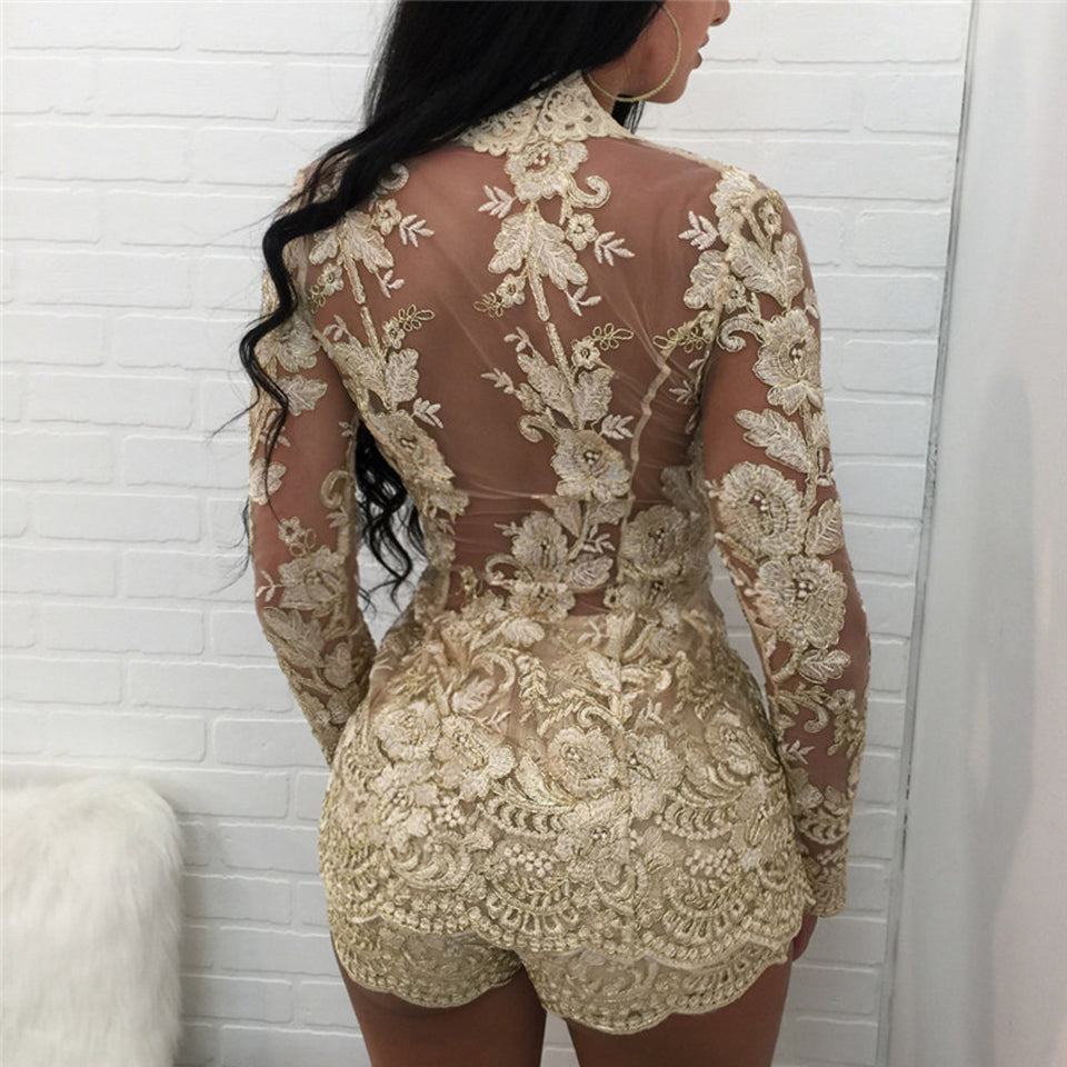 Karlofea Spring Floral Lace Lady Two Piece Sets Long Sleeve Sheer Mesh Top And Shorts Sexy Club Night Party Outfit New Women Set