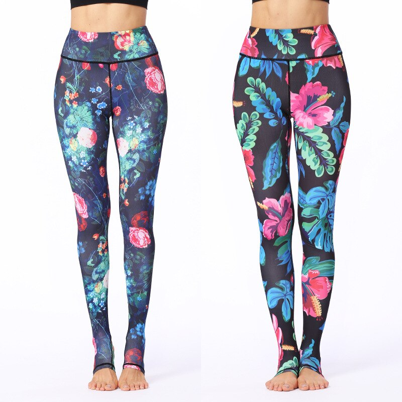 Women Yoga Pants High Waist Printing Step on Foot Slim Sport Leggings Fitness Gym Running Dance Elastic Quick-drying Trousers