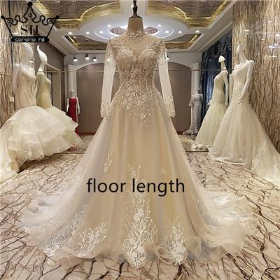 Long Sleeve Backless Evening Dresses High Neck Sheer Embroidery Bridal Gowns-Dress-SheSimplyShops
