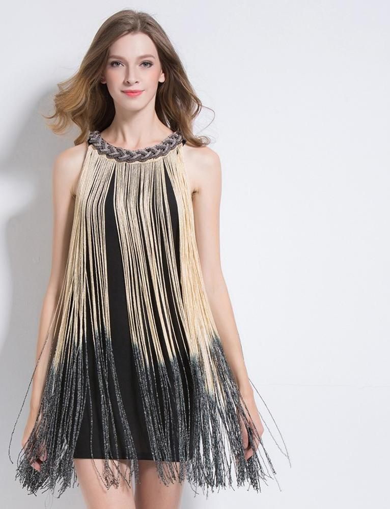 Great Gatsby Ombre Metal Chain Halter-Neck Black 1920s Fringe Flapper Charleston Dress Sexy Party Bodycon Club Dress Vestido-Dress-SheSimplyShops