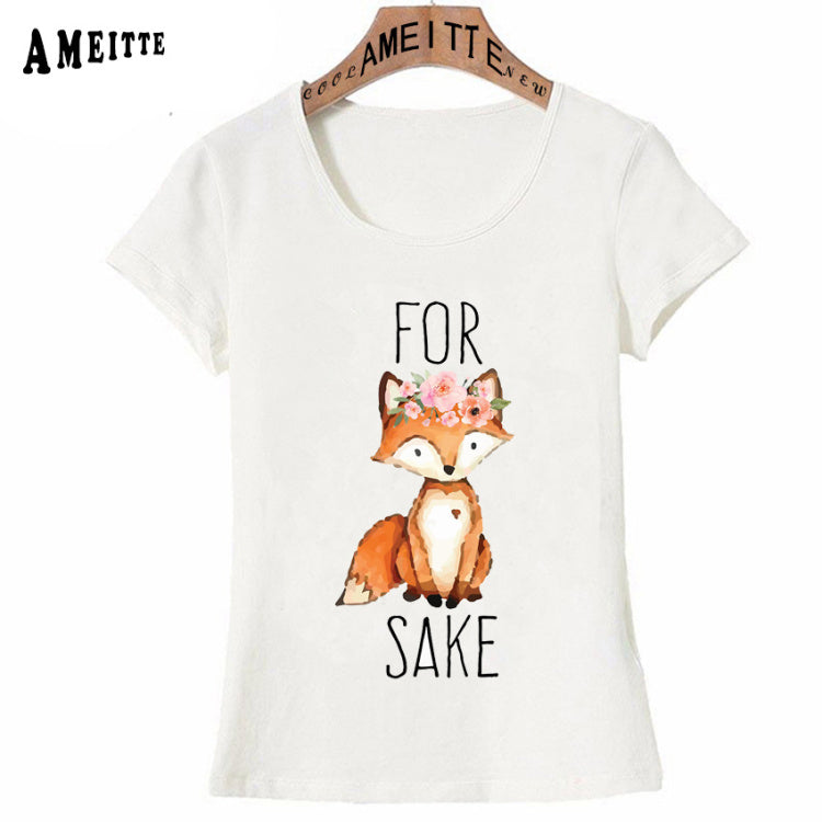AMEITTE For Fox Sake - Flowers Watercolor Print T-Shirt Summer Women T-shirt Girl Casual Tops Woman White Cool Tees