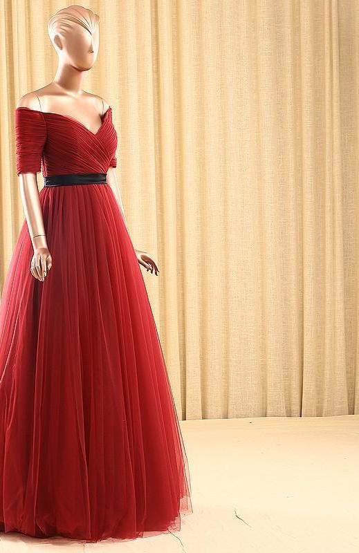 Deep-V Sweetheart Tulle Sexy Wedding Dress Wine Red Half Sleeves Pleat Wedding Gowns-Dress-SheSimplyShops