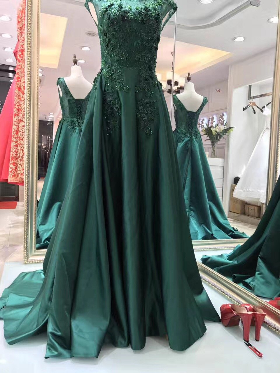 New Luxury Satin Long Evening Dress The Bride Banquet Sleeveless Lace Flower Beading Prom Formal Gown-Dress-SheSimplyShops