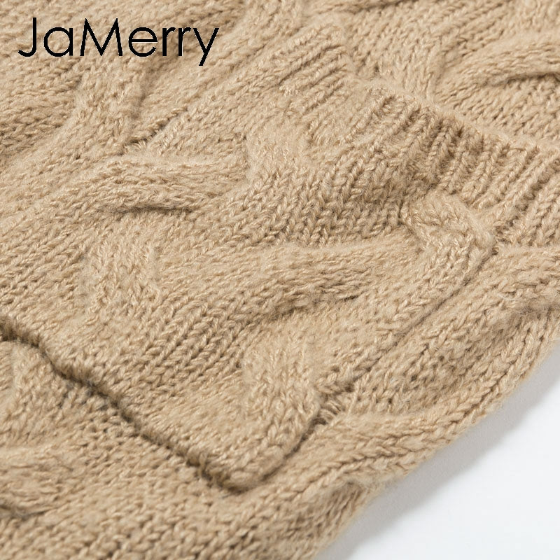 JaMerry Vintage winter mohair long cardigan knitted sweater women Long sleeve female jumper cardigan Casual streetwear femme