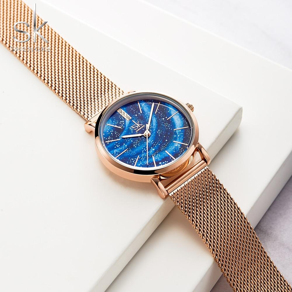Shengke Luxury Women Watches Romantic Starry Blue Dial Mesh Stainless Steel Strap Ultra-thin Case Quartz Wristwatch Reloj Mujer