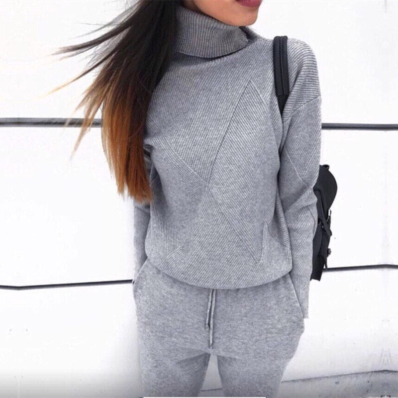 Knit Two Piece Set Turtleneck Sweatshirts+Pant 2 Piece Set Autumn Winter Knitted Tracksuit Women Sporting Sets Casual Clothings