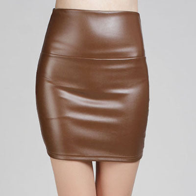 Faux Pu Leather high waist Pencil Skirt