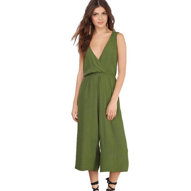Playsuits Women Jumpsuits Casual Summer Overalls V neck Loose Sexy Backless Jumpsuits and Rompers-ROMPERS & JUMPSUITS-SheSimplyShops