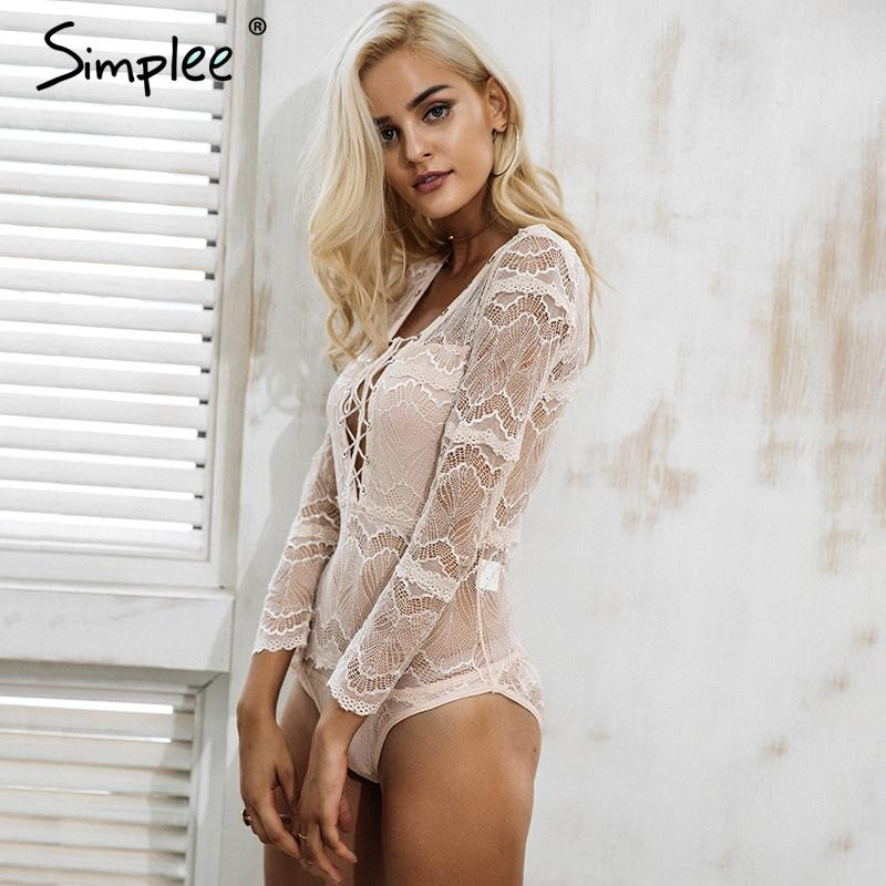 Lace up deep v neck black lace bodysuit Women sexy transparent slim intimates Long sleeve bodycon lingerie playsuit-INTIMATES-SheSimplyShops