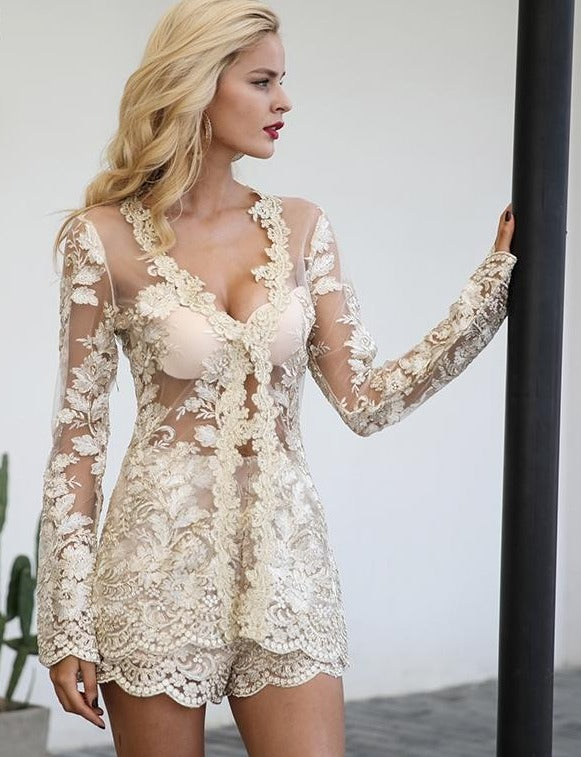Sparkling sexy jumpsuit romper Floral gold elegant jumpsuit women Backless hollow out short-ROMPERS & JUMPSUITS-SheSimplyShops