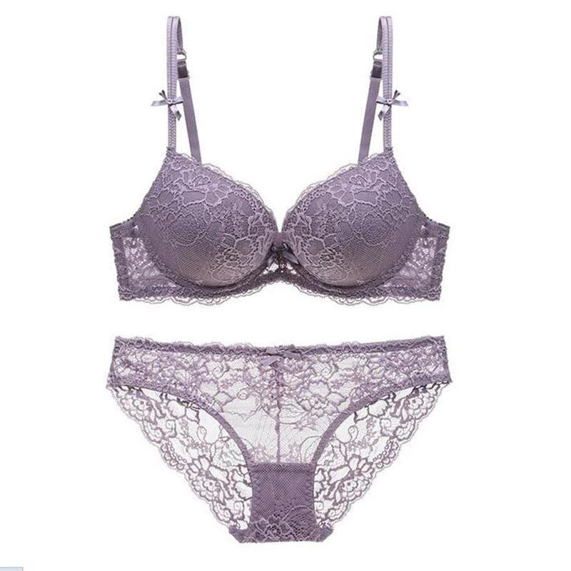 Sexy Lingerie Lace Bra Sets Women Padded 3/4 Cup Luxurious Push Up Bra Transparent Underwear-UNDERWEAR-SheSimplyShops