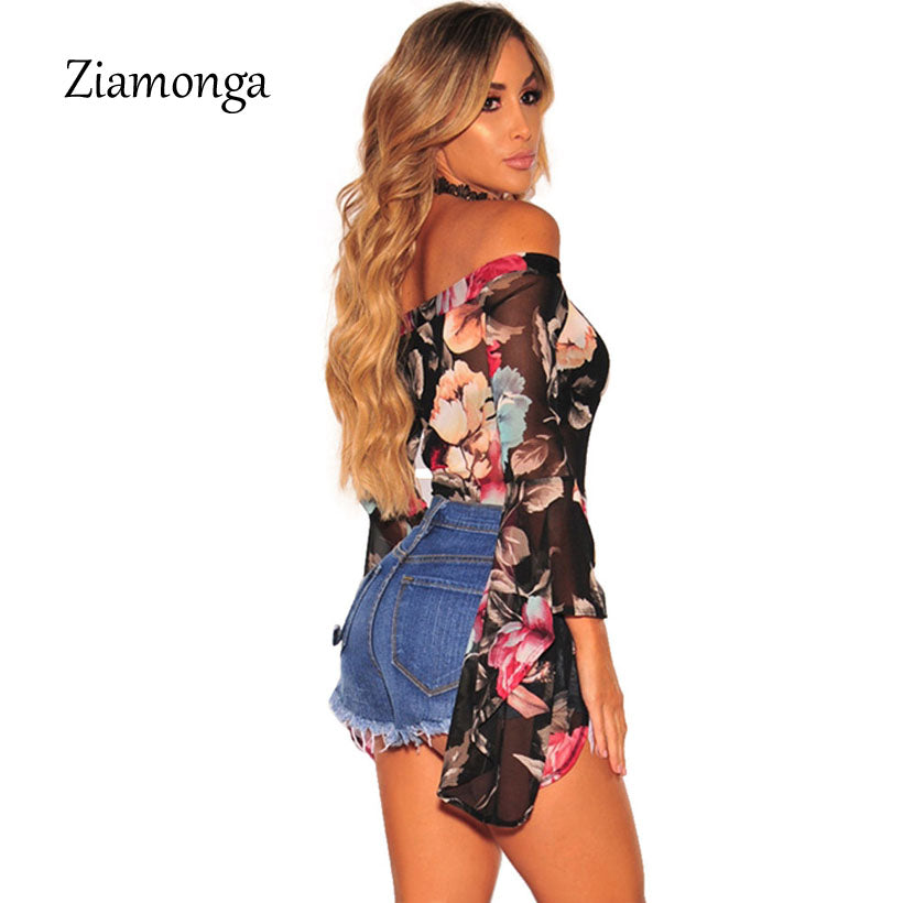 Ziamonga Long Sleeve Strapless Sexy Bodysuit Women Ribbed Skinny Crop Top Elegant Print Playsuit Femme Jumpsuit Women Body Suit