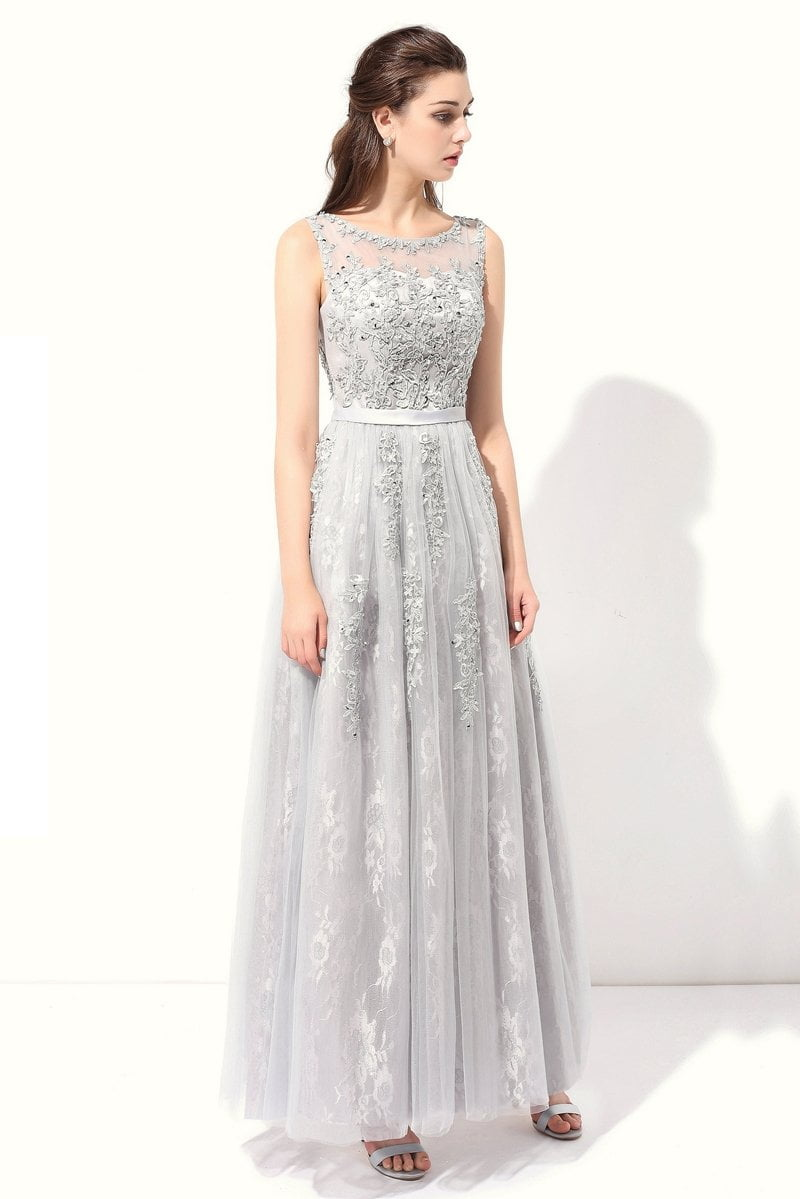 New Evening Dress the Bride Grey Elegant Embroidery Lace Sleeveless Floor-length Long Prom Dresses-Dress-SheSimplyShops