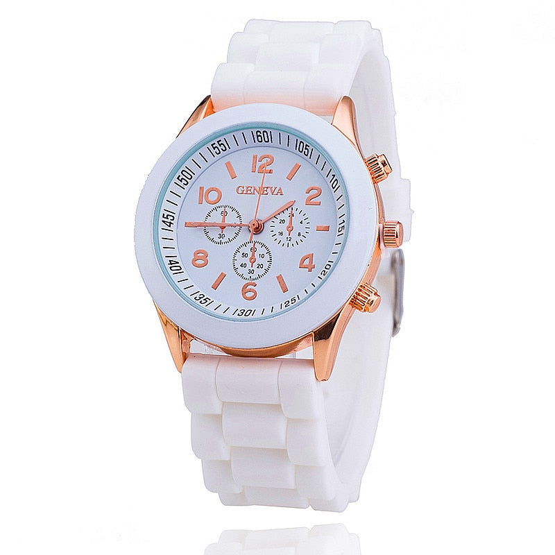 Famous Brand Geneva Silicone Quartz Watch Women Jelly Casual Dress Watches Relogio Feminino Clock Hot Sale Zegarki damskie