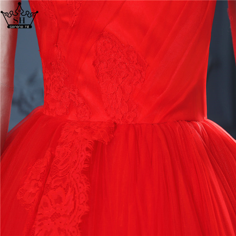 Dress royal red cathedral train Ball Gown wedding dress New Bridal Wedding Dresses-Dress-SheSimplyShops