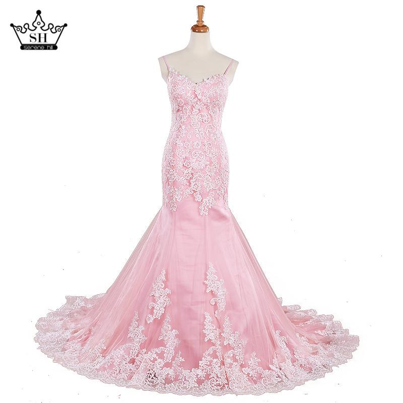 Sweetheart Mermaid Lace Wedding Dress Pink Appliques Sexy Tulle Bride Dress New Style-Dress-SheSimplyShops