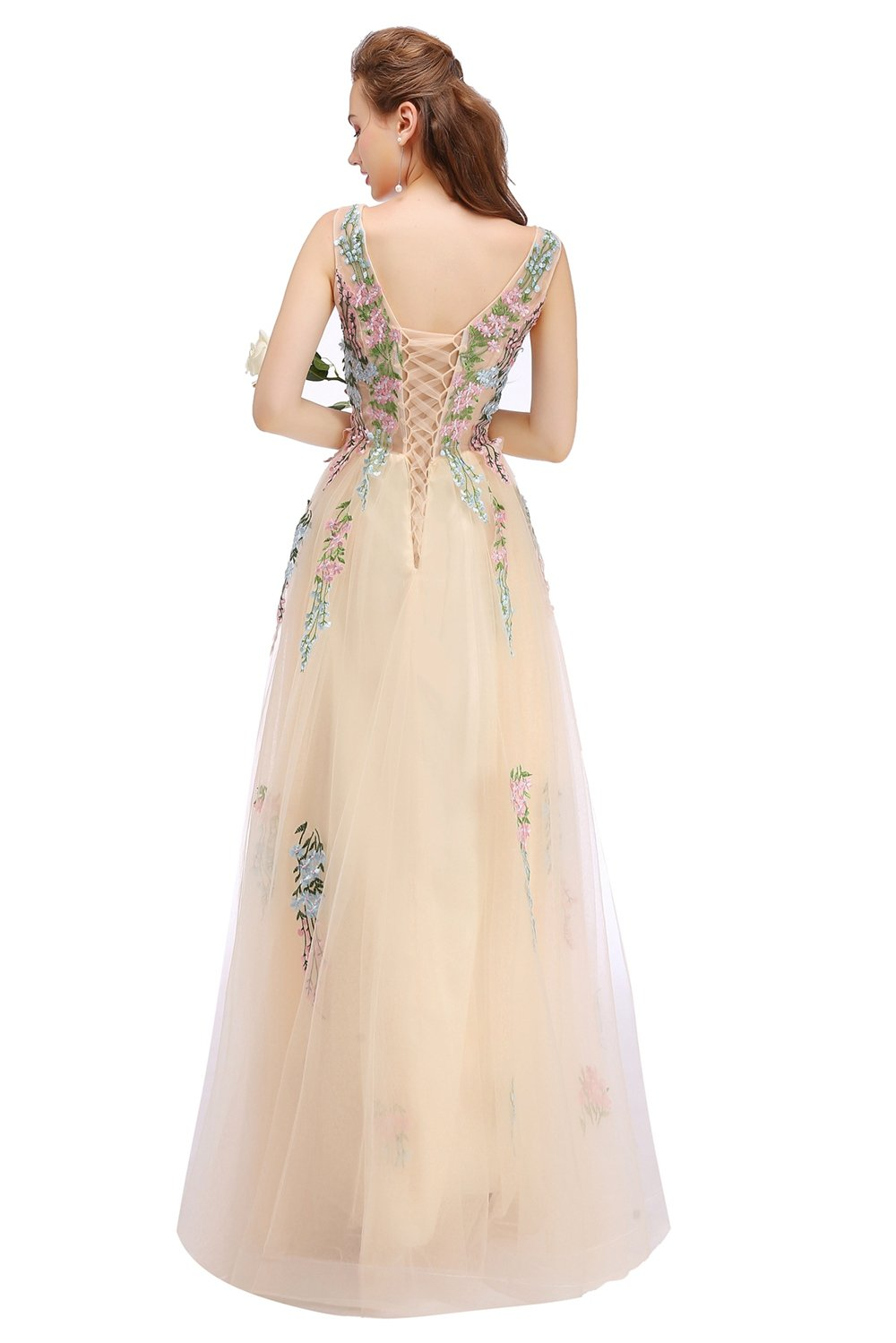New Champagne Lace Embroidery Long Evening Dress The Bride Banquet Elegant Sleeveless Floor-length Prom Party Gowns-Dress-SheSimplyShops