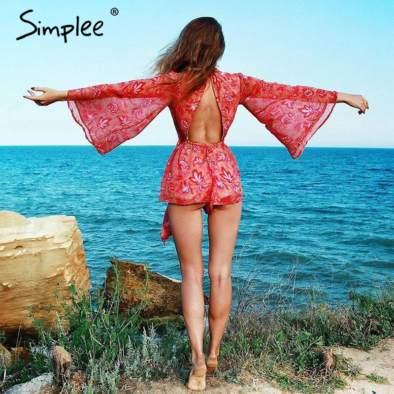 Backless lace up women jumpsuit romper overalls Print lining bodysuit Sexy summer overalls catsuit leotard-ROMPERS & JUMPSUITS-SheSimplyShops