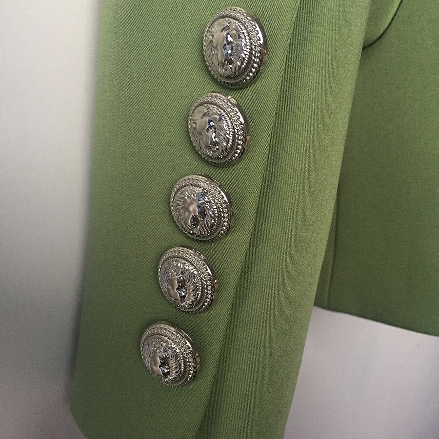 HIGH QUALITY New Fashion 2019 Designer Blazer Jacket Women's Lion Metal Buttons Double Breasted Blazer Outer Coat Green