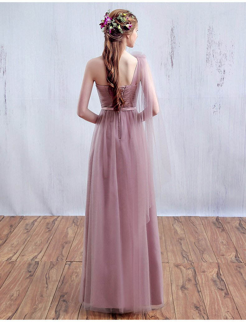 One Shoulder Floor-length Long Bridesmaid Dresses Bride Simple Formal Party Gown Custom Homecoming Dresses-Dress-SheSimplyShops