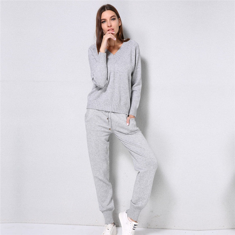 MVGIRLRU comfortable sweater suits Women Knitted suit v-neck pullover sweater with pant two piece knit set outfits
