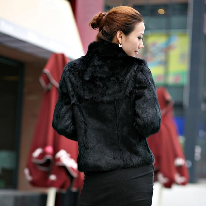 Women Real Rabbit Fur Coat Natural Rabbit Fur Overcoat Fashion Slim Thin Rabbit Fur 100% Full Pelt Genuine Rabbit Fur Jacket