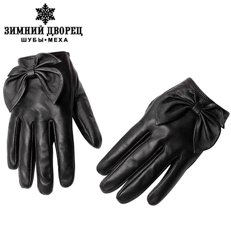 New Fashion Leather Gloves Genuine Leather Cotton Adult Fall Short Paragraph Gloves Black Bow Fashion Women's Gloves-GLOVES-SheSimplyShops