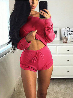 Two Piece Set Women Long Sleeve Shirt Cropped Top+Shorts Women's Tracksuits Solid Off Shoulder Tops Short Trousers