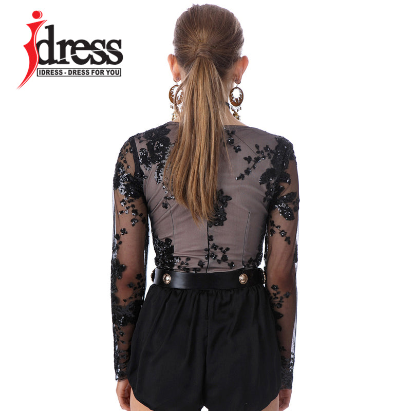 IDress XS-L Hot Sale Women Bodysuit Macacao Curto Sexy V Neck Mesh Sequined Rompers Womens Jumpsuit Long Sleeve Sequin Bodysuit
