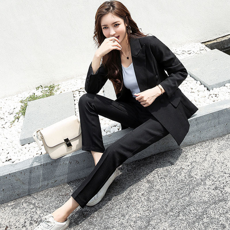 Classic Double Breasted White Women Pant Suits Notched Collar Blazer Jacket & Straight Pants Office Ladies Female Sets
