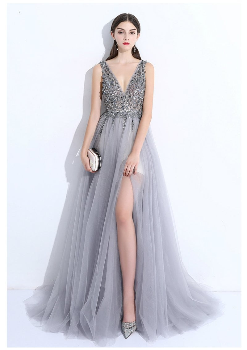 New luxury evening dress the bride banquet sexy v-neck beading Backless grey floor-length long prom party gown-Dress-SheSimplyShops