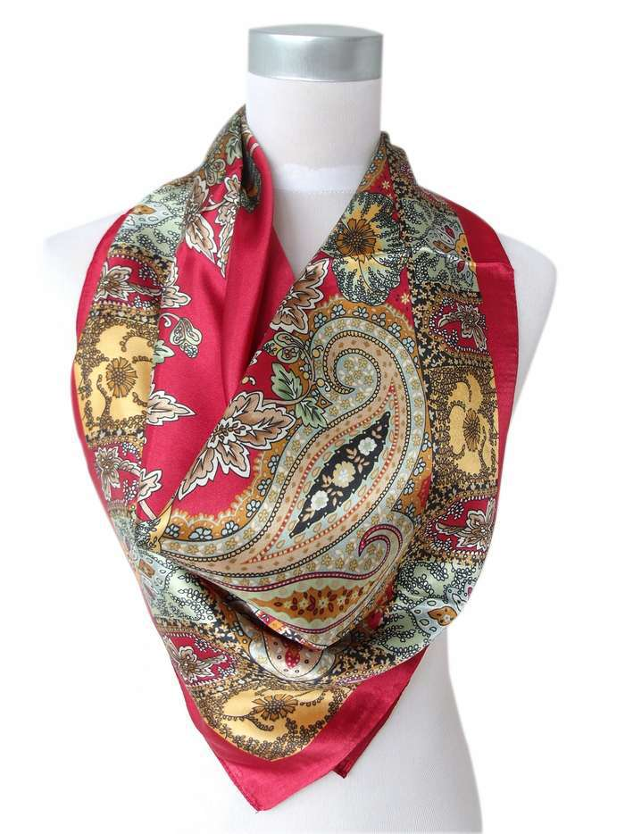 Satin Square Silk Scarf Printed For Ladies, Women Polyester Scarves, Blue, Army Green,Yellow,Red