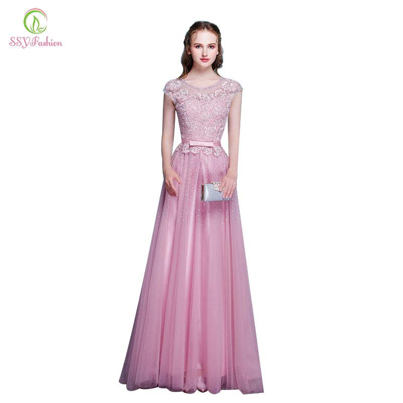 New Arrival Pink Lace Beading Evening Dress The Bride Banquet Elegant Party Gown Formal Dresses Robe-Dress-SheSimplyShops