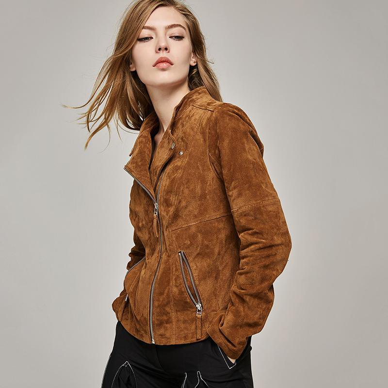 Fashion pig split Leather Jacket Women Zipper Slim Motorcycle Outerwear Coats Genuine Leather Basic Jackets-Coats & Jackets-SheSimplyShops