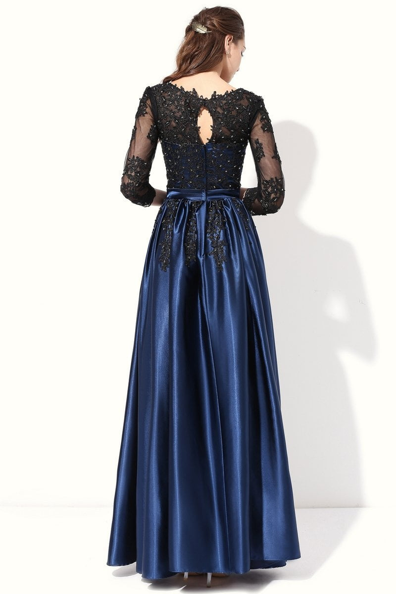 Long Evening Dress Blue with Black Lace Embroidery Sleeved Banquet Mother of The Bride Dresses-Dress-SheSimplyShops