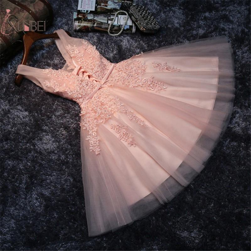 2019 Pink Short Prom Dresses Sexy V Neck Sleeveless Lace Applique Gown vestidos de gala