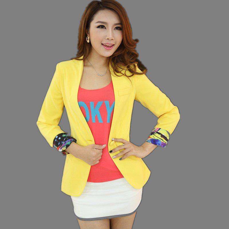 Spring Jacket Small Suit Coat Blaser Femenino Candy-Color Blazer Jacket Slim Women Blazers And Jackets Long Sleeve Outwear C2295