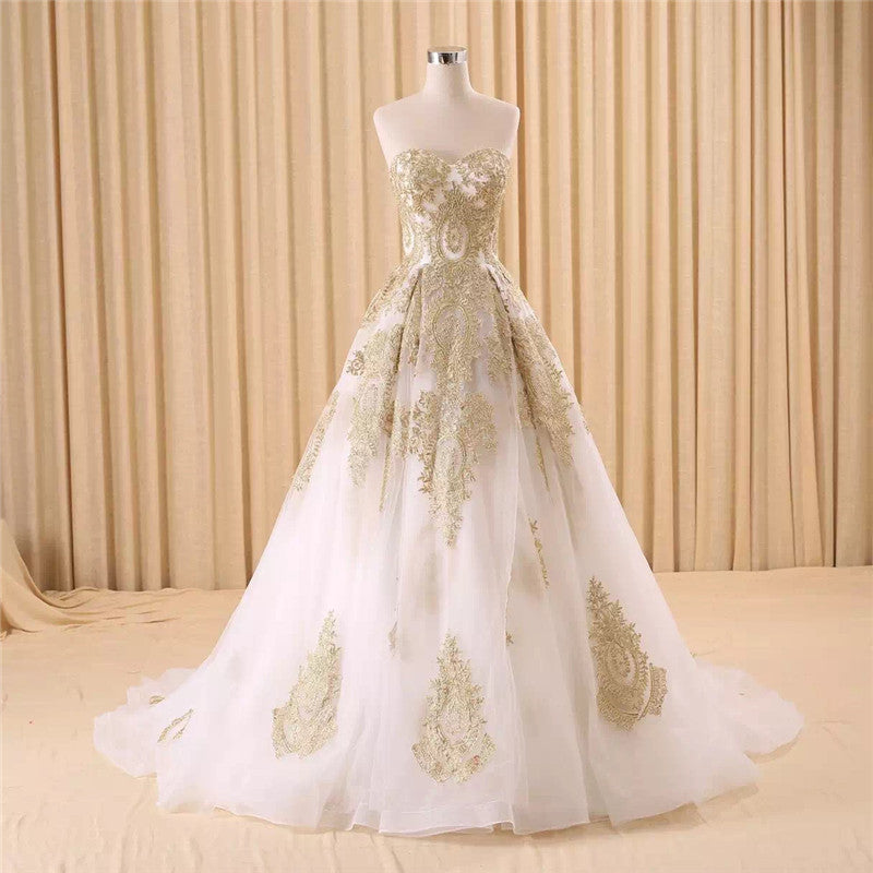 Luxury Long Train Embroidery Wedding Dress Bridal Gown-Dress-SheSimplyShops