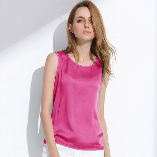 Women Summer Silk Tank Tops Ladies Blouses Mesh Cute Sleeveless Solid Color O Neck Casual T Shirt Vest Tops-Blouse-SheSimplyShops