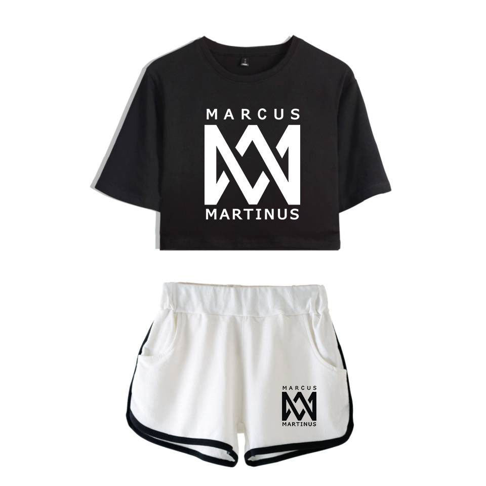Frdun Tommy Marcus &martinus Leisure Women's suit Soft Round Collar Cropped Top and Short Pants Kpop Casual New Style Clothes