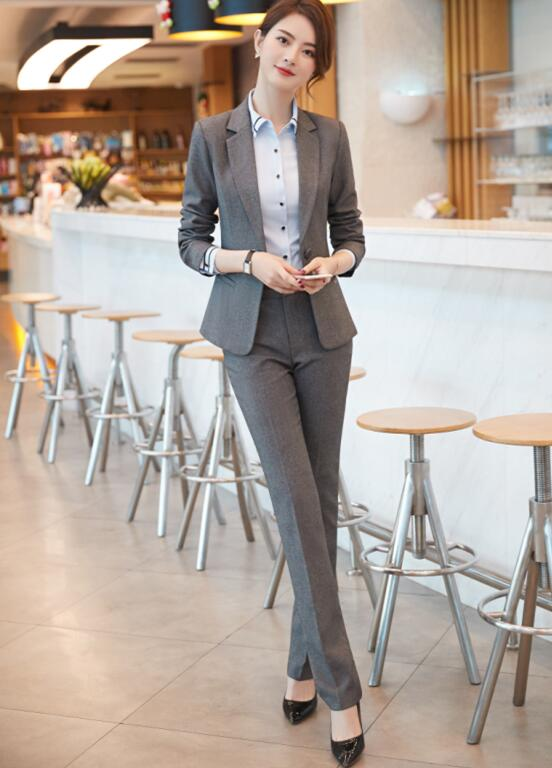 women pant suits formal Business Slim blazer and Trouser office ladies plus size work wear gray black