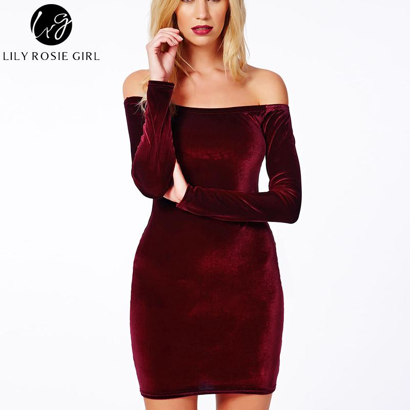Sexy Off Shoulder Wine Red Sheath Velvet Dress Women Winter Party Long Sleeve Elegant Pencil Body con Ladies Dress-Dress-SheSimplyShops