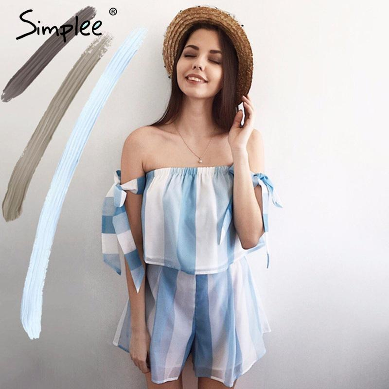 Organza Bow Striped Blouse Shirt Casual Off Shoulder Short Sleeve Crop Top Summer Beach Blouse Women Tops-Bottoms-SheSimplyShops