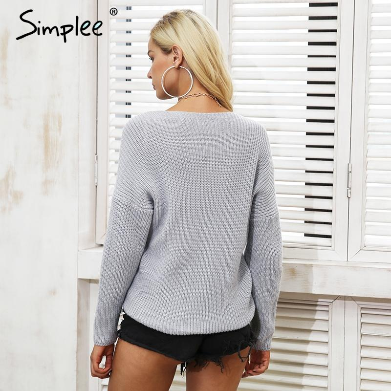 Cross v neck knitted winter sweater women Down sleeve pull sweater Autumn pullover casual jumper-SWEATERS + CARDIGANS-SheSimplyShops