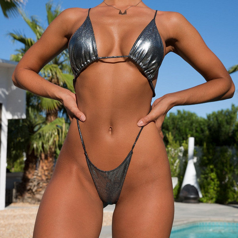 backless micro Thong Bikini Set women's swimsuits Bandage Push Up Bikinis mini Swimwear Triangle Bathing Suit Biquini